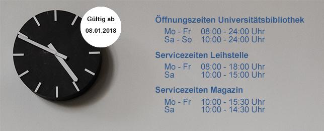 Universitätsbibliothek weitet 2018 Öffnungszeiten aus