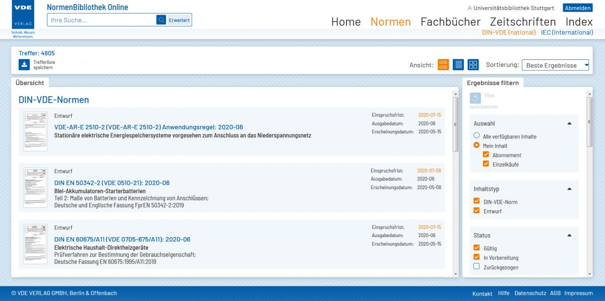 NormenBibliothek des VDE lizenziert